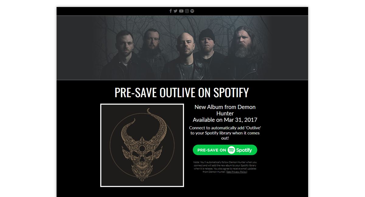 Demon Hunter Presave for Spotify