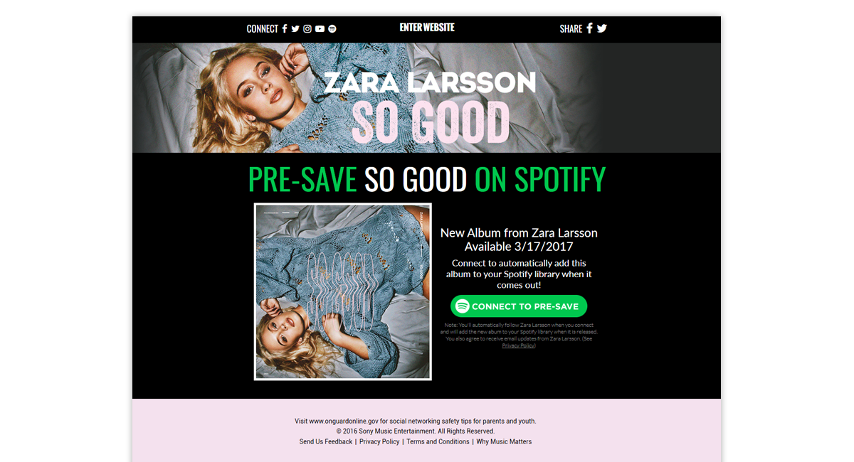 Zara Larsson So Good Michele Presave for Spotify